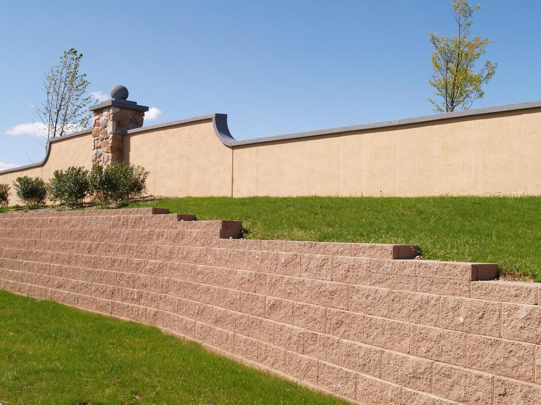 completed retaining walls project
